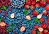 Fresh berries strawberry, blueberry, raspberry. Various fresh su